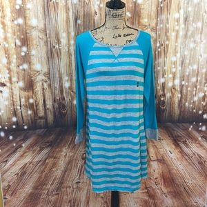 IZOD teal and gray stripped sleep shirt size M